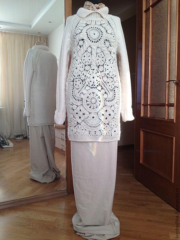 Wool tunic hand knit 'Frost on glass', Dresses, Ekaterinburg,  Фото №1