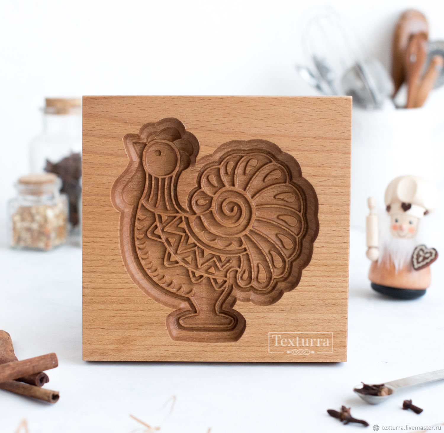 COCKEREL wooden gingerbread/honeycake mold, Form, St. Petersburg,  Фото №1