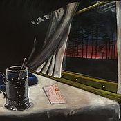"""Иллюстрации ручной работы. Ярмарка Мастеров - ручная работа Скетч """"Ночное купе"""". Handmade."""