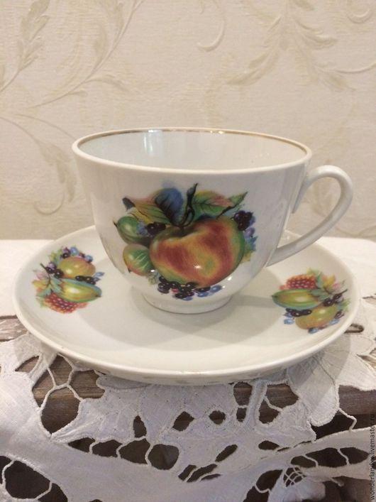 """Винтажная посуда. Ярмарка Мастеров - ручная работа. Купить """"фруктовая"""" чайная пара, лфз. Handmade. Комбинированный, подарок"""