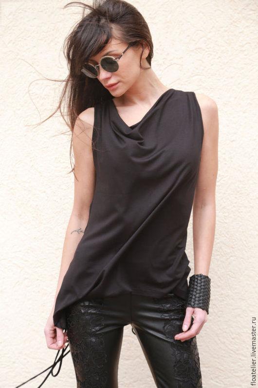 Блузки ручной работы. Ярмарка Мастеров - ручная работа. Купить Черная блузка/Летняя блузка/F1572. Handmade. Черный, блузка летняя, топ