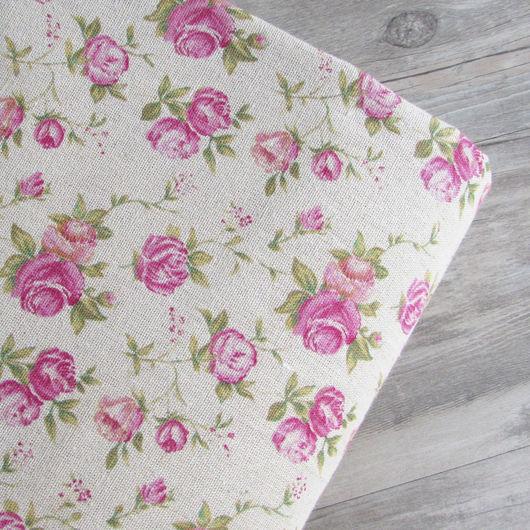Ткань лен натуральный. Рисунок Розы.