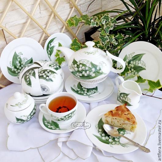 """Сервизы, чайные пары ручной работы. Ярмарка Мастеров - ручная работа. Купить Роспись фарфора.Сервиз чайный """"Ландыши"""". Handmade."""