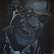 Картины ручной работы. Ярмарка Мастеров - ручная работа Портрет на шелке.Ray Charles. Handmade.