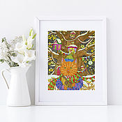 Картины и панно handmade. Livemaster - original item Winter fairy tale Picture with a cat for the interior. Handmade.