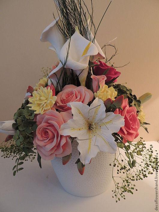 Цветы ручной работы. Ярмарка Мастеров - ручная работа. Купить Букет с лилиями. Handmade. Розовый, розы, подарок, полимерная глина