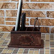 Для дома и интерьера handmade. Livemaster - original item Stand for remotes and mobile phones Chocolate. Handmade.