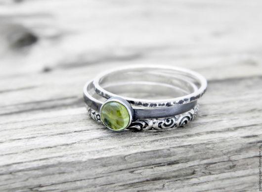 Кольца ручной работы. Ярмарка Мастеров - ручная работа. Купить Набор из трех колец, серебро 925 пробы. Handmade. Зеленый