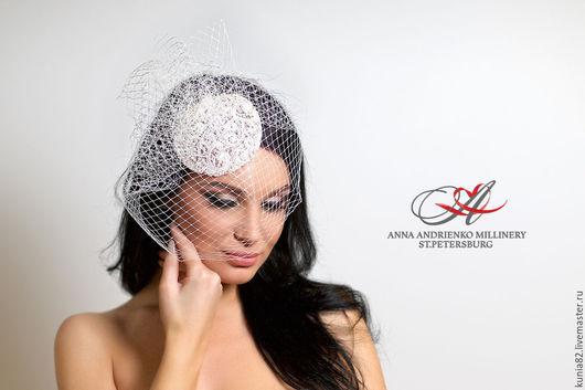 Свадебные и вечерние аксессуары ручной работы. Свадебная шляпка-таблетка `Perle`. Анна Андриенко. Ярмарка Мастеров.
