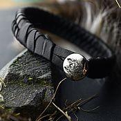 Украшения handmade. Livemaster - original item Braided leather bracelet, with Honda logo on silver clasp. Handmade.