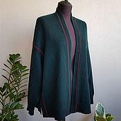Одежда handmade. Livemaster - original item Dark green cardigan with burgundy stripe made of 100% merino. Handmade.