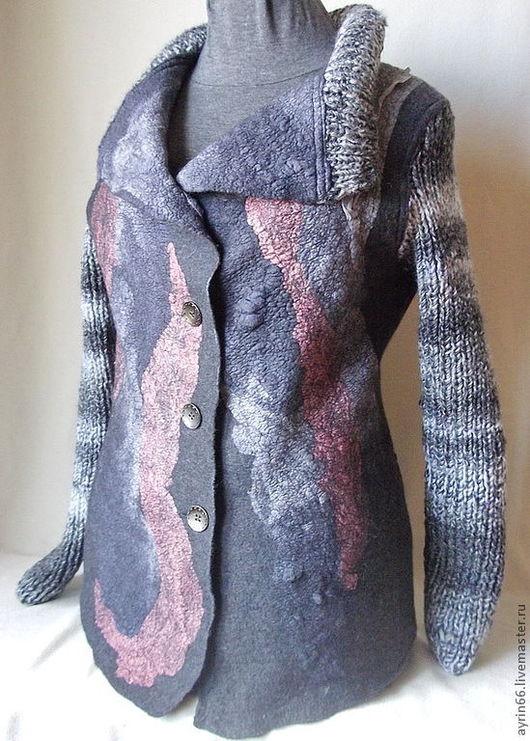 """Пиджаки, жакеты ручной работы. Ярмарка Мастеров - ручная работа. Купить Жакет """"Серый кот"""". Handmade. Темно-серый"""