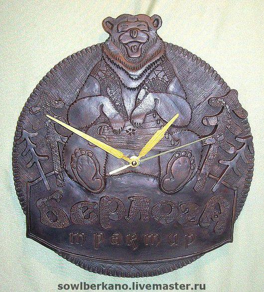 Часы для дома ручной работы. Ярмарка Мастеров - ручная работа. Купить Керамические часы Берлога. Handmade. Часы настенные, карелия