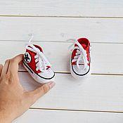 Пинетки ручной работы. Ярмарка Мастеров - ручная работа Пинетки кеды вязаные кедики красный мальчику девочке подарок выписку. Handmade.