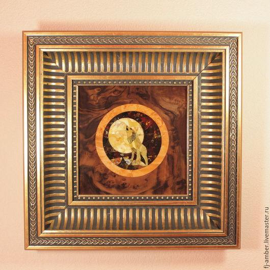 """Животные ручной работы. Ярмарка Мастеров - ручная работа. Купить Картина №01 класса """"Люкс"""" из натурального янтаря. Handmade. Комбинированный"""