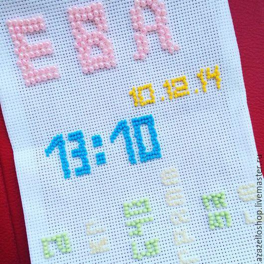 Символизм ручной работы. Ярмарка Мастеров - ручная работа. Купить Метрика из бисера для девочки/ Метрика для мальчика/ День Рождения. Handmade.