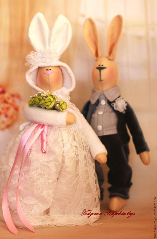 Куклы Тильды ручной работы. Ярмарка Мастеров - ручная работа. Купить НА ЗАКАЗ..Свадебная пара зайцев.. Handmade. Свадьба