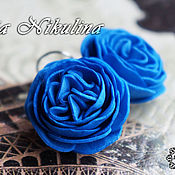 Украшения ручной работы. Ярмарка Мастеров - ручная работа Серьги из фоамирана Синие Цветы. Handmade.