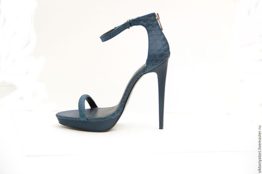 Обувь ручной работы. Ярмарка Мастеров - ручная работа. Купить босоножки 1. Handmade. Синий, эксклюзивная обувь, босоножки женские