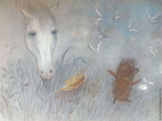 """Животные ручной работы. Ярмарка Мастеров - ручная работа. Купить Картина пастелью """"Ёжик в тумане"""". Handmade. Ежик в тумане, ночь"""
