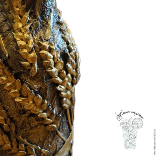 """Декоративная посуда ручной работы. Ярмарка Мастеров - ручная работа. Купить Бутылка декоративная """"Самогон ручной работы"""", коричневый, золотой. Handmade."""