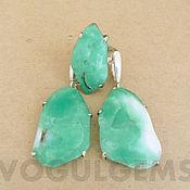 Украшения handmade. Livemaster - original item Earrings and a ring with chrysoprase (Kazakhstan).Green earrings and a ring. Handmade.