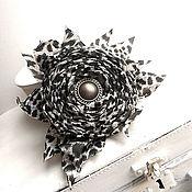 Украшения handmade. Livemaster - original item Brooch hair clip with fabric flower. Black and white rose. Handmade.