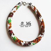 Necklace handmade. Livemaster - original item Harness beaded Autumn gold. Handmade.