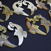 Материалы для творчества handmade. Livemaster - original item Pendants for earrings Buffalo Horn Zebu Owl 52h28mm. Handmade.