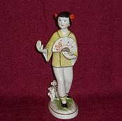 Винтаж handmade. Livemaster - original item GIRL CHINESE GIRL WITH A FAN. LPF the Mid20th century. A!. Handmade.