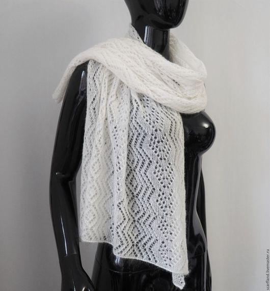 Шарфы и шарфики ручной работы. Ярмарка Мастеров - ручная работа. Купить Ажурный шарф белый из кид-мохера. Handmade.