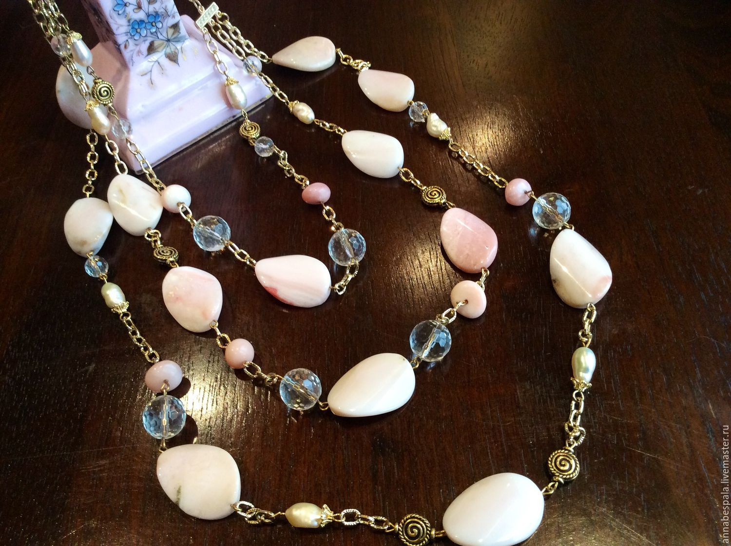 pink bracelet item pastel shop order pearls necklace online opal on