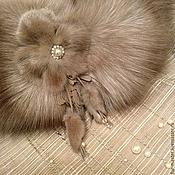 Аксессуары ручной работы. Ярмарка Мастеров - ручная работа Горжетка из лисы «Cappuccino» в комплекте с брошью. Handmade.