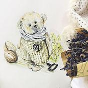 "Картины и панно handmade. Livemaster - original item Акварельная картинка ""Мишка Тедди"". Handmade."