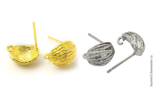 Пуссеты, цвет - платина, золото. Размер 9х11 мм. Пуссеты для создания украшений. Busimir