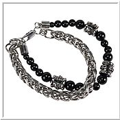 Украшения handmade. Livemaster - original item Men`s bracelet no. 6 steel 10 mm, stone. Handmade.
