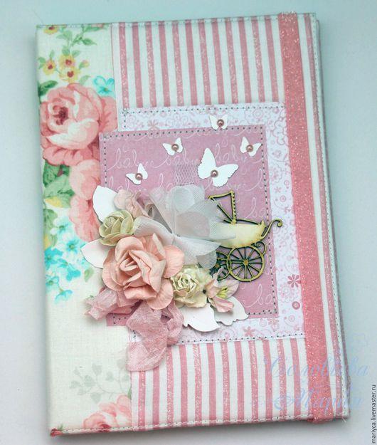 """Подарки для новорожденных, ручной работы. Ярмарка Мастеров - ручная работа. Купить Мамин дневник """"Цветы"""". Handmade. Бледно-розовый"""