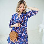 Одежда handmade. Livemaster - original item Bright cotton tunic Violet, summer beach dress blue. Handmade.