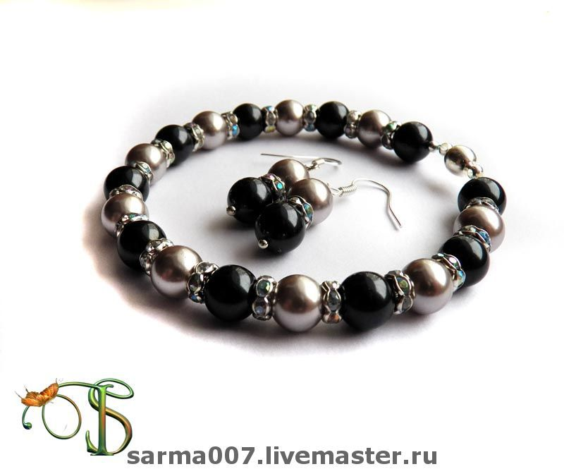 'Black and white' (set of bracelet and earrings), Jewelry Sets, Voronezh,  Фото №1