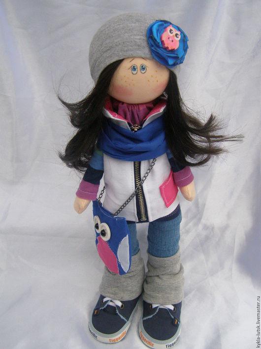 Куклы тыквоголовки ручной работы. Ярмарка Мастеров - ручная работа. Купить интерьерная кукла Полина. Handmade. Фуксия, текстильная кукла