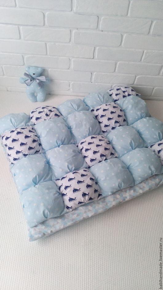 """Для новорожденных, ручной работы. Ярмарка Мастеров - ручная работа. Купить Одеяло бомбон """"Киты на голубом"""". Handmade. Голубой, москва"""