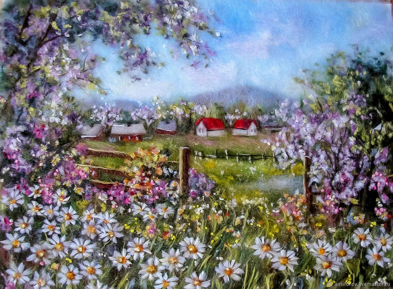 Картина из шерсти  И вечная весна!, Картины, Энгельс,  Фото №1