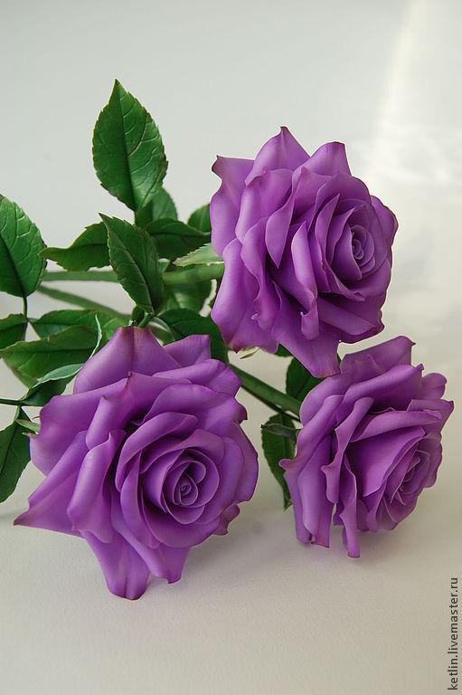 Цветы ручной работы. Ярмарка Мастеров - ручная работа. Купить Розы сиреневые. Handmade. Фиолетовый, Холодный фарфор, масляные краски