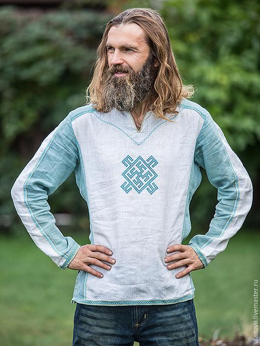 """Для мужчин, ручной работы. Ярмарка Мастеров - ручная работа. Купить рубаха """"Цветок папоротника"""". Handmade. Белый, этностиль"""