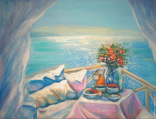 Пейзаж ручной работы. Ярмарка Мастеров - ручная работа. Купить Картина маслом голубой цвет Морской пейзаж  Море внутри. Handmade.