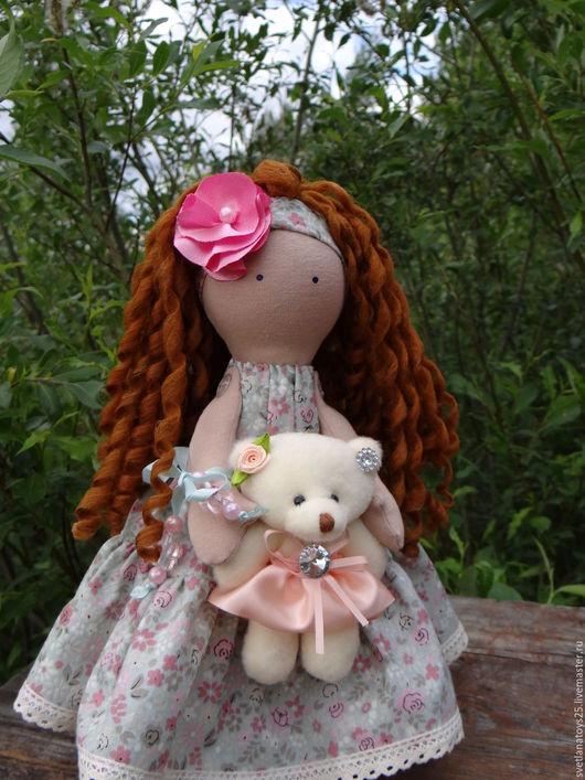 кукла интерьерная кукла текстильная шатенка с кудрявыми волосами кукла с мишкой кукла в салатовом куколка на счастье