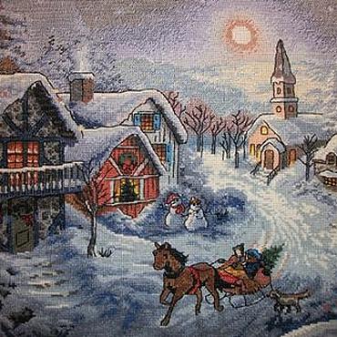 """Картины и панно ручной работы. Ярмарка Мастеров - ручная работа Картина """"Волшебное Рождество"""" (вышивка крестиком). Handmade."""