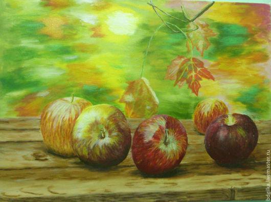 Натюрморт ручной работы. Ярмарка Мастеров - ручная работа. Купить яблоки. Handmade. Сад, скамейка, яблоки, лето, счастье, солнце