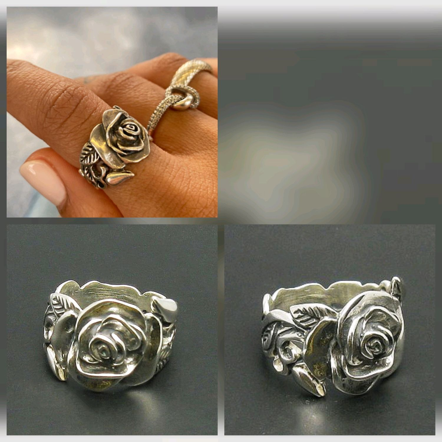 Floral Ring. Silver ring as a gift for March 8, Rings, Turin,  Фото №1
