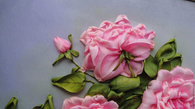 Вышивка лентами розы фото